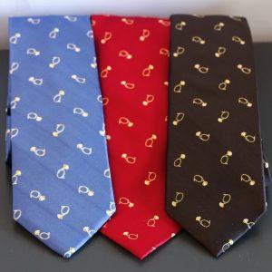 Collection de cravate FITF bleu, rouge, marron motif petites trompes